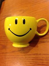 Vintage TELEFLORA Yellow Smiley Happy Face OVERSIZED Mug Soup Bowl Coffee