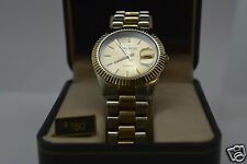 Helbros Mens Two tone Bracelet/Gold Calendar Dial Watch