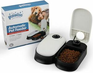PAWISE Automatic Pet Feeder 2x300ml Meal  Food Dispenser Timed Food Bowl