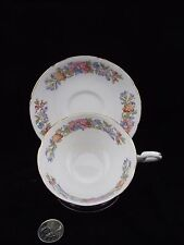 WHITE GOLD PINK BLUE FLORAL GENUINE BONE CHINA CABINET TEA CUP AND SAUCER