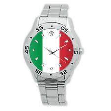Italy Italian Flag Watch Stainless Steel Bracelet Strap Men's Dress Watch Analog