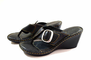 Born Wedge Sandals 6 Womens Comfy Clarice Black Leather