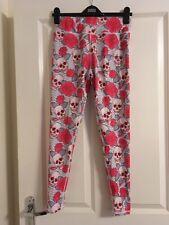 Lucy Locket Loves Light Skull & Rose Print Activewear Leggings Size Small BNWT