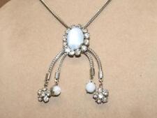 "VTG 50s Silvertone Blue Cats Eye Glass & Rhinestone Pendant Choker Necklace 15""+"