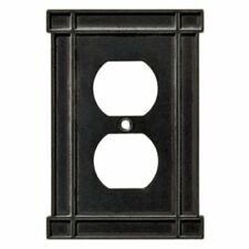 Duplex Wall Plate Arts & Crafts Soft Iron Black Brainerd 144078