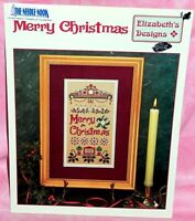 Elizabeth's Designs Merry Christmas Cross Stitch Chart Leaflet Sampler