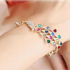 Retro Fashion Charm Women Peacock Rhinestone Cuff Bracelet Bangle Jewelry Gift
