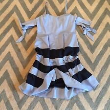 New ANTHROPOLOGIE Nantucket Blue Stripe Cold Shoulder Summer Party Dress Small