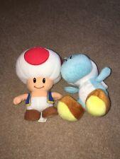 Stuffed Animal Plush Toad Blue Yoshi Mario Lot Set of 2 AUTHENTIC
