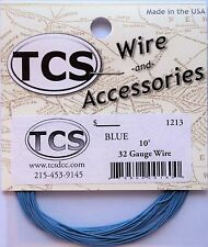 "Wire 32awg 10 foot Blue, 18 strand wire outside diameter 0.022"" (.0559cm)"