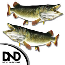 """Pike - Fish Decal Fishing Hunting Tackle Box Bumper Sticker """"3in SET"""" F-0500 D&"""