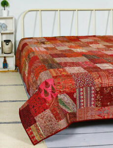 Indian Patchwork Silk Sari Red Bedspread Coverlet Blanket Throw Kantha Quilt