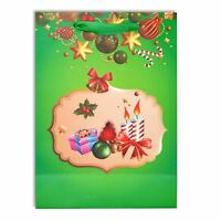 Small Quality Christmas Gift Bags Green Glitter Decorations Paper Bag Xmas Wrap
