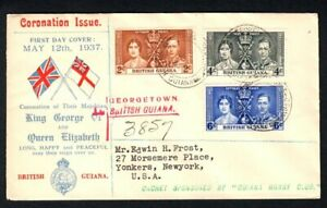 British Guiana 1937 KGVI Coronation Issue Registered FDC Georgetown to USA