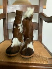 NEW DESIGNER  INDIAN NAVAJO PONY SKIN NEW BUCK MOCCASIN BOOTS SIZE UK 7 EU 40