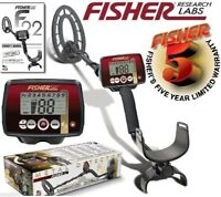 "Fisher F22 Weatherproof Metal Detector with 9"" Waterproof Coil & 5 Year Warranty"