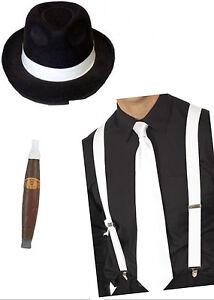 Gangster Set Hat Suspender Tie & Cigar 1920s Costume Party Mafia 4pcs Fancy Dres