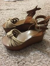 isabel marant etoile Brown Wood Wedges Sandals Sz 35