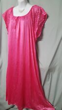 "VENTURA PINK NIGHTGOWN Long  W/LACE Cap SLEEVE WOMEN Plus 2X 62"" BUST"