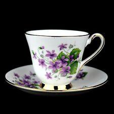 Vintage Bone China - 1 Tea Cup & Saucer - Violets & Gold Trim - Made in England