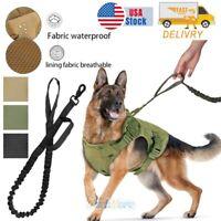 New Tactical K9 Training Dog Collar Harness Military Adjustable Nylon Vest+Leash