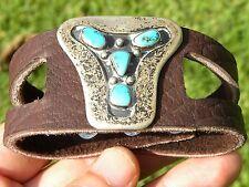 Vintage sterling silver turquoise on Bison leather cuff men brown bracelet