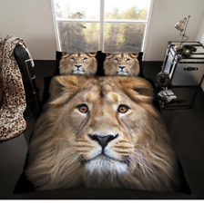 Luxury 3d Lion Animal Print Double Bed Duvet Quilt Cover Bedding Pillowcases Set