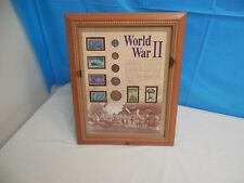 RARE! WORLD WAR II MILITARY COLLECTORS STAMP & COIN COLLECTION PLAQUE