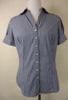 Süße  BENETTON  Bluse, Top mit Baumwolle blau - weiß - gestreift  Gr. 34