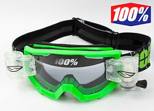 100% PERCENT STRATA MOTOCROSS GOGGLES GREEN with SMITH ROLL OFF CANISTERS tvs