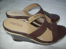 Me Too Jacki cuir brun compensé Size 11 M NEUF