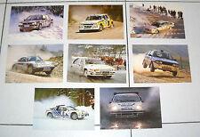 8 Cartoline RALLY Nuove Postcard cartolina Lancia Delta Porsche Renault Rallie