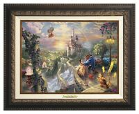Thomas Kinkade Beauty and the Beast 12 x 16 Canvas Classic (Aged Bronze Frame)