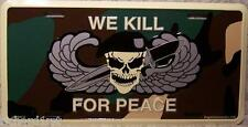 Aluminum Military License Plate Army Airborne We Kill For Peace NEW
