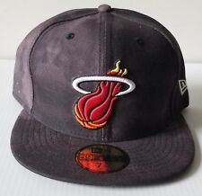 New Era Miami Heat Charcoal Dye 59Fifty Flat Bill 5950 Cap NBA Hat HWC 7 3/4