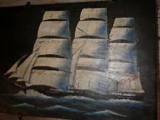 Vintage Painting Northern Light Clipper Ship by E. K. Berry on black slate