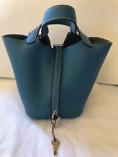AUTHENTIC HERMES Picotin Tote Handbag Turquoise Blue With Lock and Keys