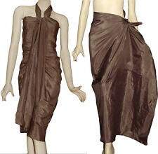 Hand Woven Art Silk Pareo Beach Scarf Sarong Wrap Cover Up Solid KK Almond Brown