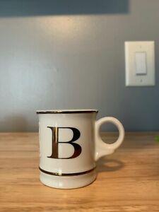 WILLIAMS SONOMA Espresso Cup You Choose Your Initial In Gold Ceramic Mini Mug