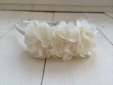 Ivory Satin Alice Hairband Headband  Triple Ivory Flower  Bridesmaid Flower Girl