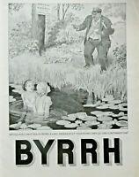PUBLICITÉ DE PRESSE 1934 BYRRH LE GARDE DÉFENCE DE SE BAIGNER - GEORGES LEONNEC