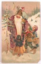 Santa Claus Postcard Belsnickel Christmas Greeting Tree Children Germany #10