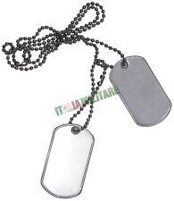 Coppia di 2 Piastrine Militari in Metallo con Catenella - Dog Tags 2 Piastrina