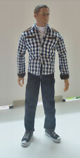 Custom 1/6 Scale Checker Shrit + Jean Set For Hot Toys Narrow Shoulder Body