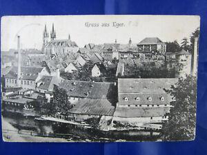 "PK AK Photokarte ""Gruss aus Eger Cheb Böhmen Basilika Stadtansicht um 1900 RAR"