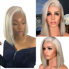 Women Girl Gold Wig with Baby Hair Human Hair Full End Short Bob Wigs