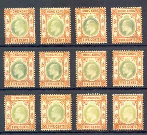 HONG KONG 12 x ST. EDW VII --5 Cents - NO GUM --VF @1