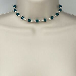"""Handmade Choker Necklace Teal and Pale Pink Glass Beads With White Pearls 13"""""""