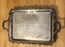 Heavy Vintage Ornate Silverplated Butler's Footed Serving Tray with Handles