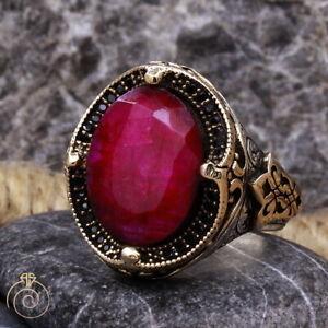 Mens Ruby Gemstone Ring Natural July Birthstone Vintage Crown Anniversary Gift